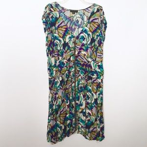 Forever 21 Abstract Print Exposed Zipper Dress
